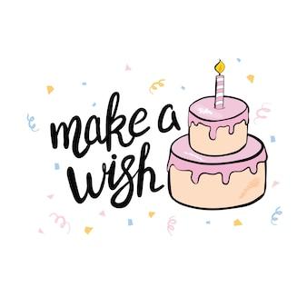 Cartão de feliz aniversário desenhado à mão