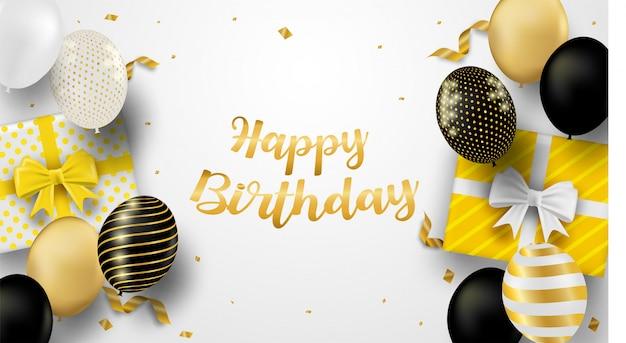 Cartão de feliz aniversário. design com balões pretos, brancos, dourados e confetes em folha de ouro. fundo branco.