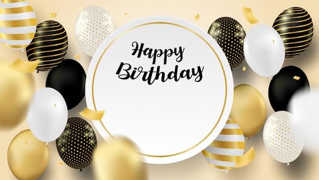 Cartão de feliz aniversário. design com balões pretos, brancos, dourados e confetes em folha de ouro. fundo macio. vetor.