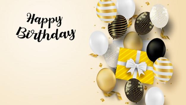 Cartão de feliz aniversário. design com balões pretos, brancos, dourados e confetes em folha de ouro. fundo macio.