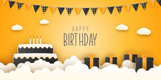 Cartão de feliz aniversário em corte de papel