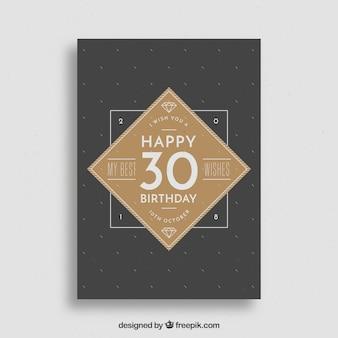 Cartão de feliz aniversario em estilo vintage