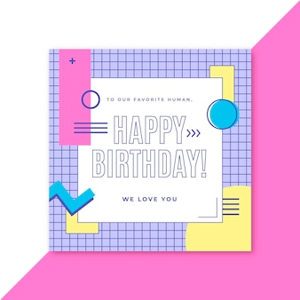 Cartão de feliz aniversário estilo memphis