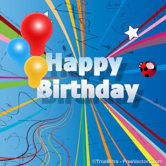 Cartão de feliz aniversário, ilustração vetorial