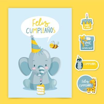 Cartão de feliz aniversário infantil