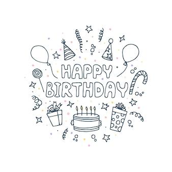Cartão de feliz aniversário. inscrição de saudação, presentes, bolo e outros itens.