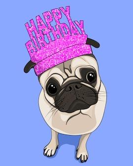 Cartão de feliz aniversário, mão desenhada ilustração de pug fofo
