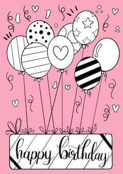 Cartão de feliz aniversário mão desenhada