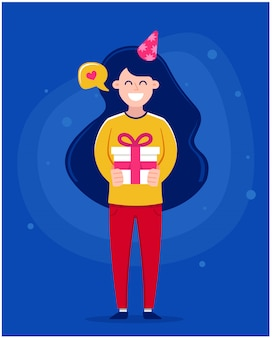 Cartão de feliz aniversário. menina segurando um bolo com velas, ilustração de personagem.