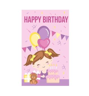 Cartão de feliz aniversário menina
