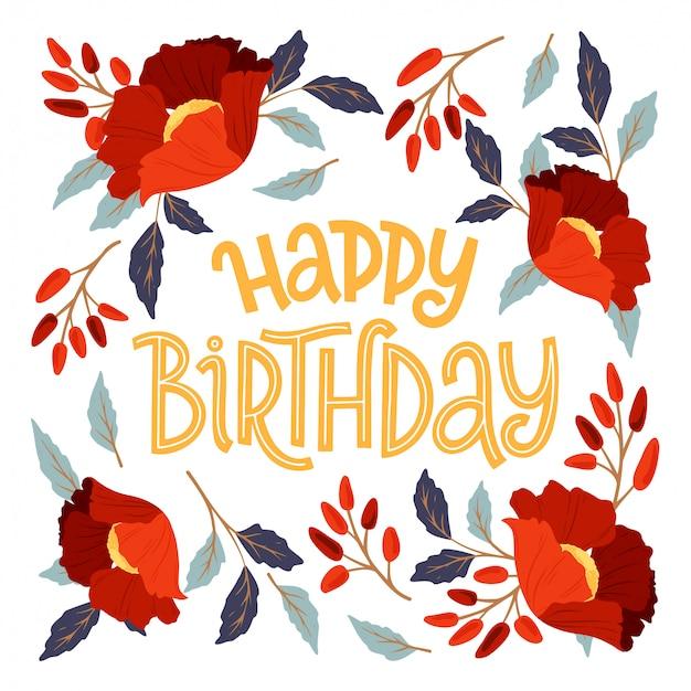 Cartão de feliz aniversário moldura floral