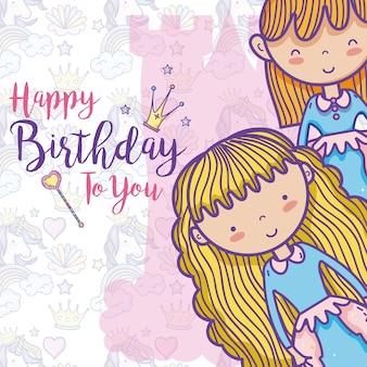 Cartão de feliz aniversario para meninas