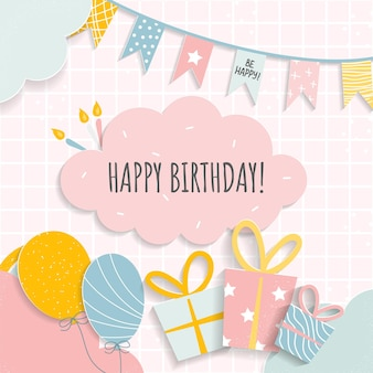 Cartão de feliz aniversário para menino ou menina
