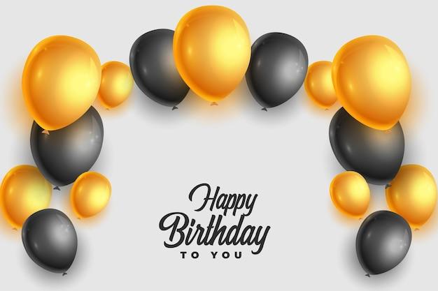Cartão de feliz aniversário realista com balões dourados e pretos