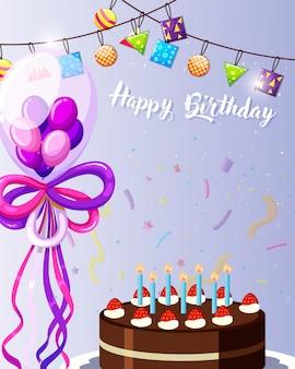 Cartão de feliz aniversário roxo