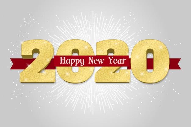 Cartão de feliz ano novo 2020