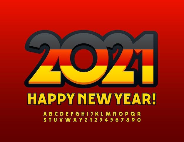 Cartão de feliz ano novo 2021 com bandeira alemã. fonte brilhante preta e amarela. letras e números modernos do alfabeto