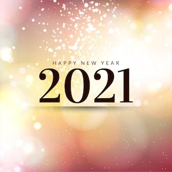 Cartão de feliz ano novo 2021 com brilhos coloridos suaves