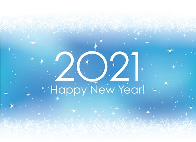 Cartão de feliz ano novo 2021 com flocos de neve