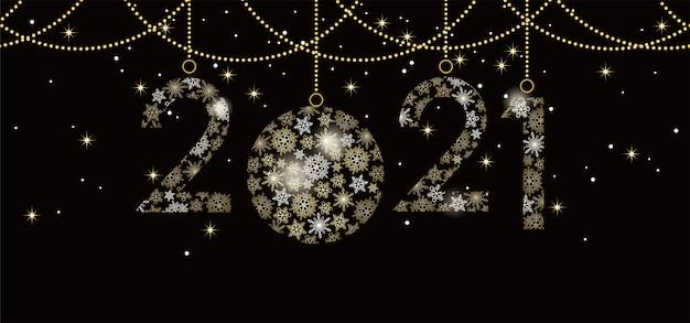 Cartão de feliz ano novo 2021 com número de flocos de neve