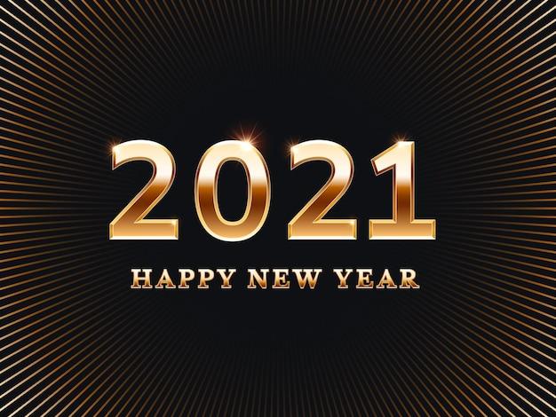 Cartão de feliz ano novo 2021 com números dourados