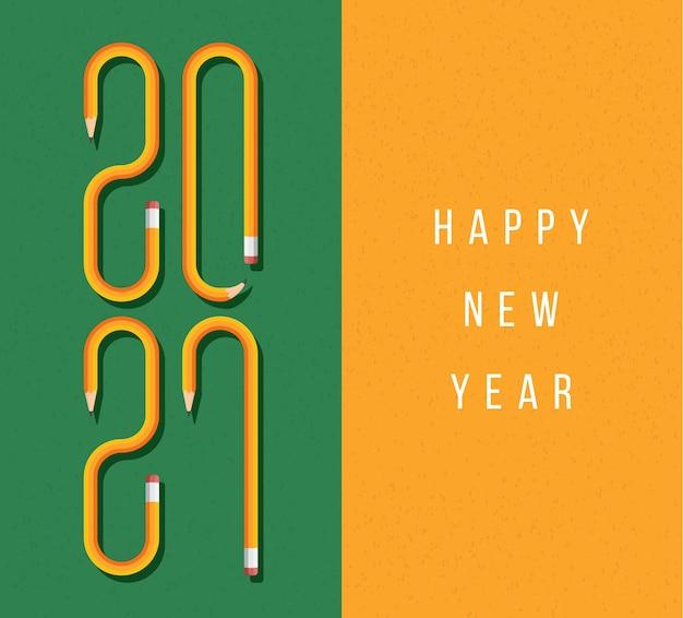 Cartão de feliz ano novo 2021 com texto formado por lápis amarelo. fonte de lápis em um fundo de quadro verde escolar