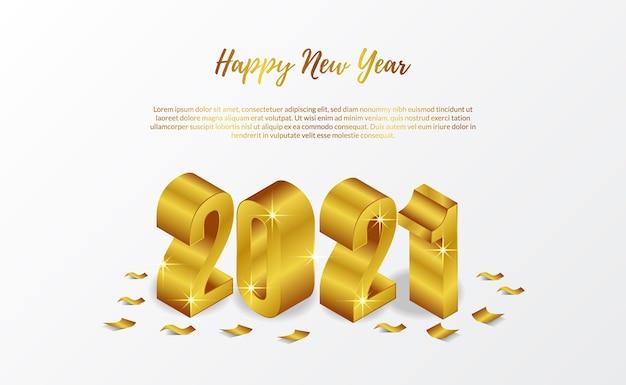Cartão de feliz ano novo 2021 modelo de banner 3d isométrico dourado com confete