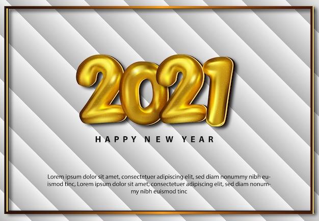 Cartão de feliz ano novo 2021 realista