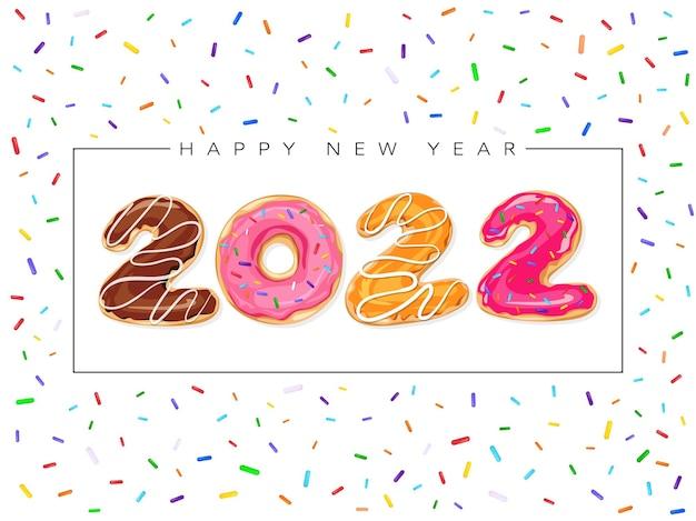 Cartão de feliz ano novo 2022 com donuts. ilustração em vetor doce com etiqueta colorida de feriado isolada no fundo branco