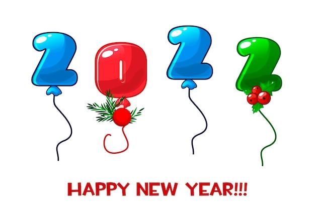 Cartão de feliz ano novo 2022 números balões.