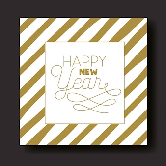 Cartão de feliz ano novo caligrafia com listras