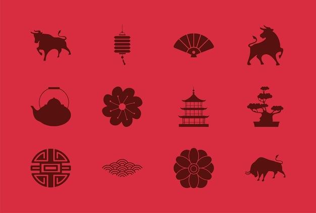 Cartão de feliz ano novo chinês com doze conjuntos de ícones