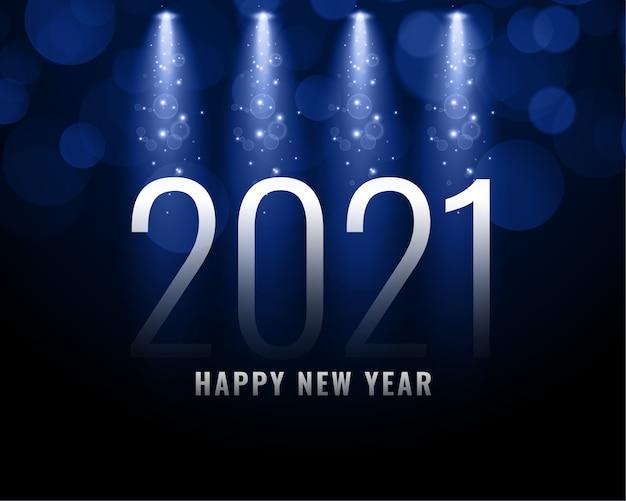 Cartão de feliz ano novo com 2021 números de metal, brilhos e luzes