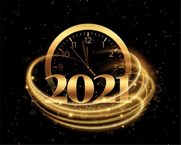 Cartão de feliz ano novo com 2021 números de ouro e relógio