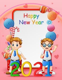 Cartão de feliz ano novo com alunos