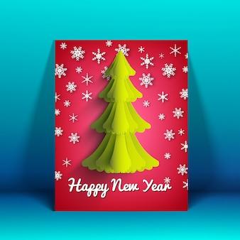 Cartão de feliz ano novo com árvore de abeto e ilustração decorativa de neve caindo