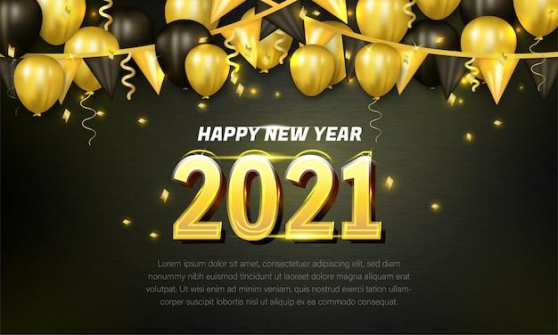 Cartão de feliz ano novo com balões dourados