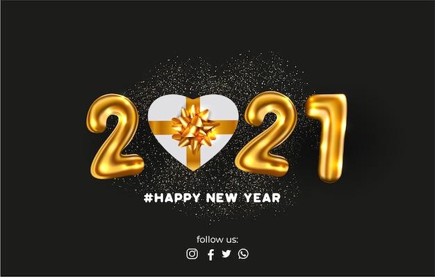 Cartão de feliz ano novo com balões realistas de 2021 e presente