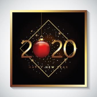 Cartão de feliz ano novo com bola de natal