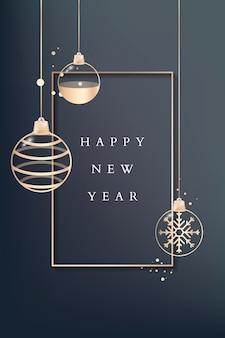 Cartão de feliz ano novo com enfeites dourados