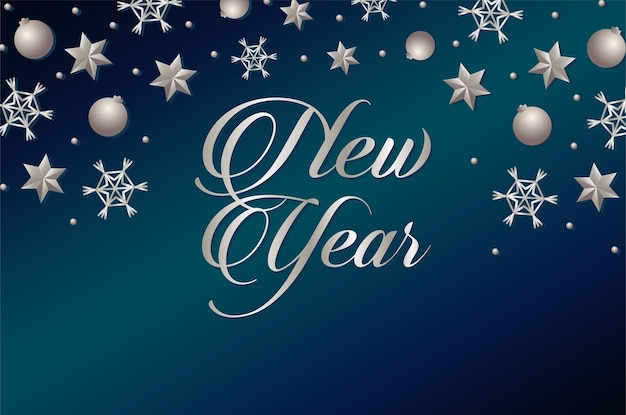 Cartão de feliz ano novo com estrelas de prata e ilustração de bolas