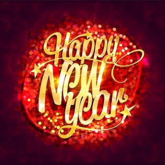 Cartão de feliz ano novo com fundo de brilhos vermelhos e letras douradas