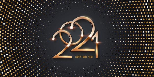 Cartão de feliz ano novo com fundo dourado de meio-tom, números brilhantes e padrão radial de pontos.