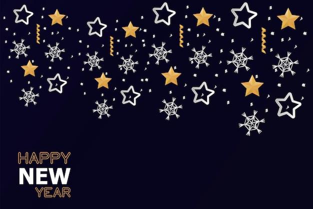 Cartão de feliz ano novo com ilustração de estrelas douradas e prateadas