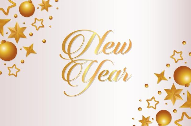 Cartão de feliz ano novo com letras douradas com bolas e estrelas