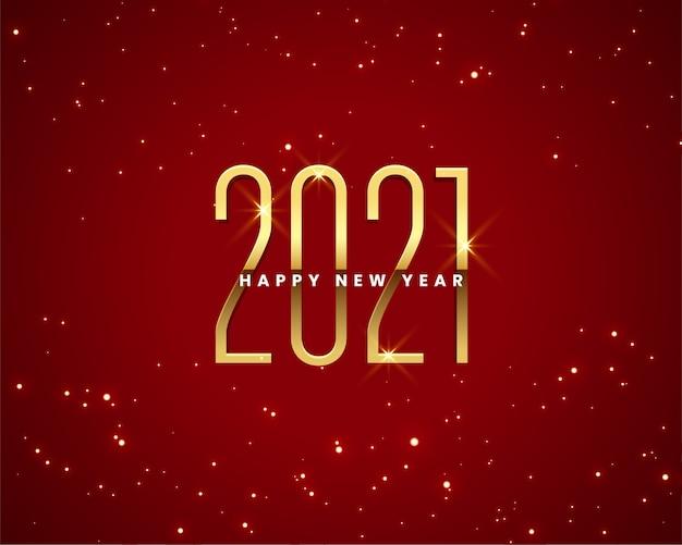 Cartão de feliz ano novo com números dourados de 2021 brilhos