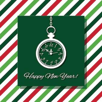 Cartão de feliz ano novo com relógio.