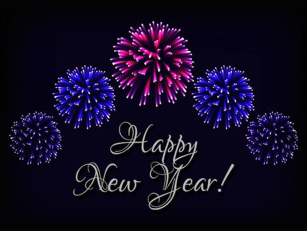 Cartão de feliz ano novo com texto e fogos de artifício