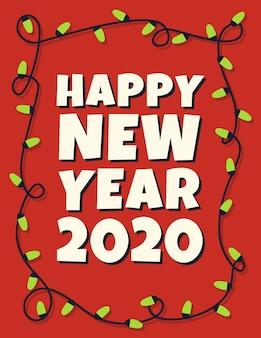 Cartão de feliz ano novo de 2020 com guirlanda