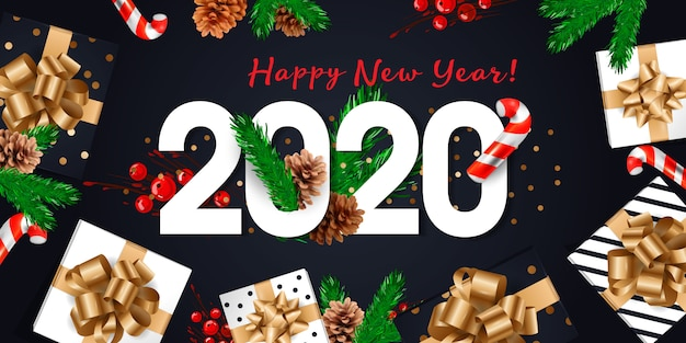 Cartão de feliz ano novo de 2020